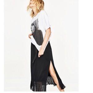 ZARA Black Midi Fringe Skirt Sz XS